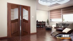 dwuskrzydowe drzwi dre w kolorze brązowym