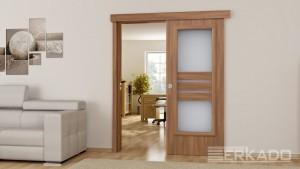 drzwi przesuwne erkado w kolorze jasny orzech