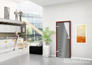 drzwi erkado stylizowane na zebrę
