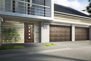 białe drzwi wejściowe kmt wraz z bramą garażową