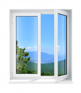 Otwarte białe okno pcv