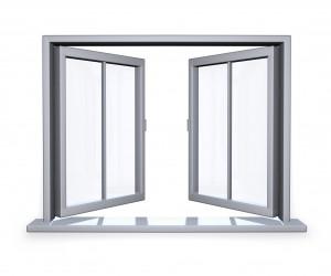 Otwarte białe okno pcv podwójne