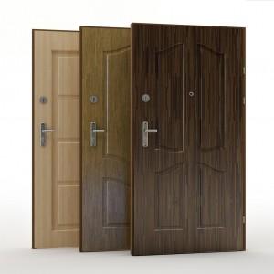 drzwi zewnętrzne w trzech kolorach