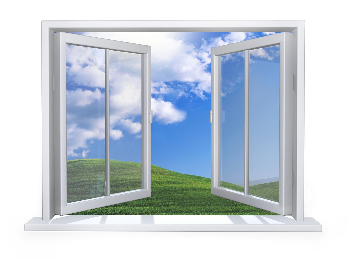 Widok z białego okna pcv na łąkę
